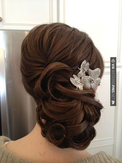 wavy-wedding-updo-hairstyles-with-headpiece